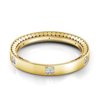 Danhov Misto Yellow Gold Domed Diamond Wedding Band  in 14k Yellow Gold
