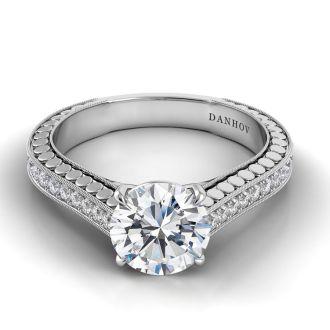 Danhov Tubetto Engagement Ring White Gold in 14k White Gold