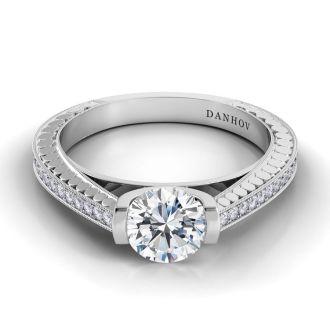 Danhov Tubetto Elegant Engagement Ring in 14k White Gold