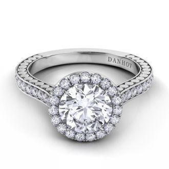 Danhov Tubetto Halo Engagement Ring in Platinum in 14k White Gold