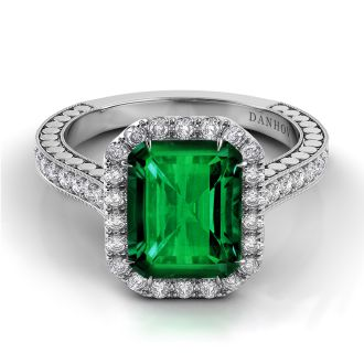 Danhov Tubetto Single Shank Emerald Diamond Ring in 14k White Gold