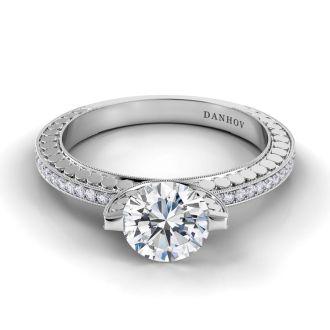 Danhov Tubetto Designer Engagement Ring in 14k White Gold