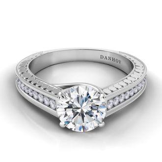 Danhov Tubetto Diamond Engagement Ring in 14k White Gold