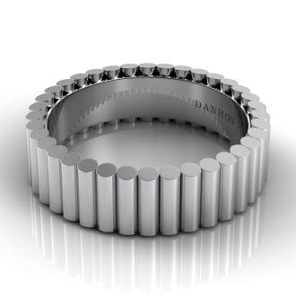 Danhov Tubetto Domed Men's Designer Wedding Ring in 14k White Gold