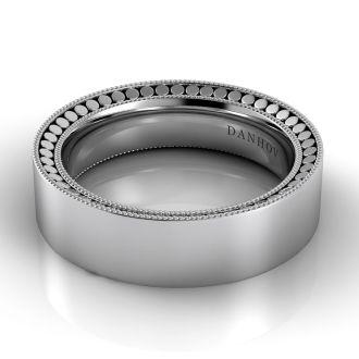Danhov Tubetto Domed Wedding Ring for Men in 14k White Gold