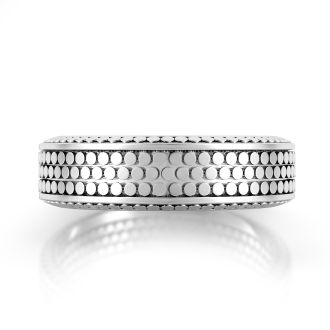 Danhov Tubetto  Domed Men's Wedding Ring  in 14k White Gold