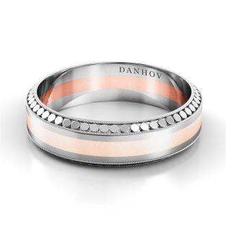 Danhov Tubetto Red  Designer Wedding Ring for Men in 14k White Gold