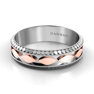 Danhov Tubetto Red  Domed Wedding Ring for Men in 14k White Gold