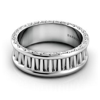 Danhov Tubetto Unique  Men's Wedding Ring  in 14k White Gold