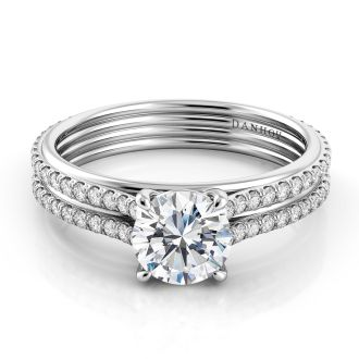 Danhov Unito Handcrafted Diamond Engagement Ring in 14k White Gold