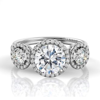 Danhov Unito  Three Stone Diamond Engagement Ring in 14k White Gold