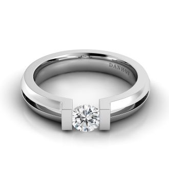 Danhov Voltaggio Tension Set Engagement Ring in 14k White Gold