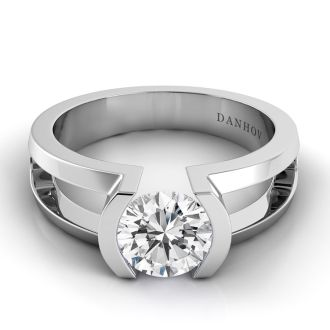 Danhov Voltaggio Split Shank Tension Engagement Ring in 14k White Gold