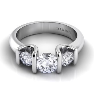 Danhov Voltaggio Tension Three Stone Engagement Ring in 14k White Gold