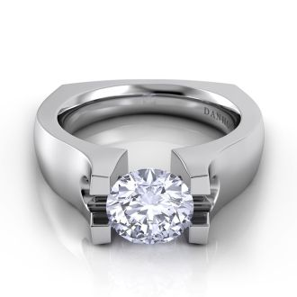 Danhov Voltaggio Modern Tension Set Engagement Ring in 14k White Gold