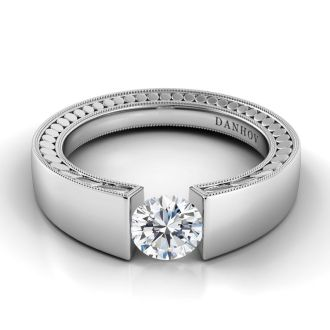 Danhov Voltaggio Tension Setting Engagement Ring in 14k White Gold