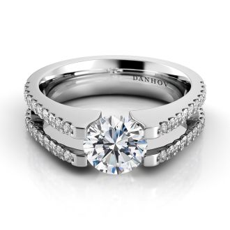 Danhov Voltaggio Double Shank Tension Engagement Ring in 14k White Gold