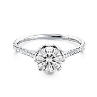 Danhov Classico Solitaire Diamond Engagement Ring in 14k White Gold