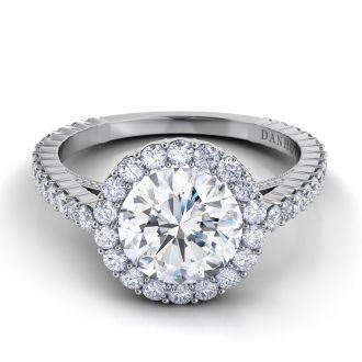 Danhov Carezza Award Winning Engagement Ring in 14k White Gold