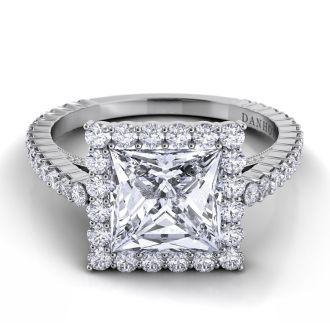 Danhov Carezza Princess Cut Diamond Engagement Ring in 14k White Gold