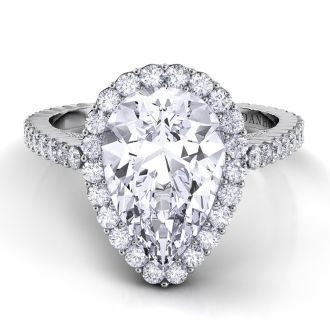 Danhov Carezza Pear Shaped Diamond Engagement Ring in 14k White Gold
