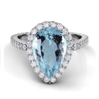 Danhov Carezza Pear Shape Aquamarine Diamond Ring in 14k White Gold