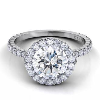 Danhov Carezza Unique Halo Engagement Ring in 14k White Gold