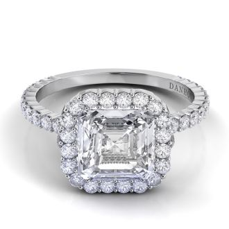 Danhov Carezza Asscher Engagement Ring in 14k White Gold