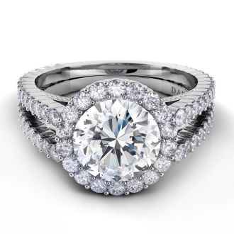 Danhov Carezza Double Halo Engagement Ring in 14k White Gold