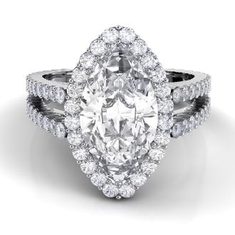 Danhov Carezza Double Shank Marquise Engagement Ring in 14k White Gold