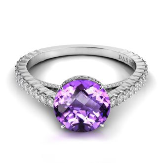 Danhov Carezza Single Shank Amethyst Diamond Ring in 14k White Gold