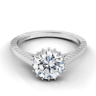 Danhov Carezza Handmade Engagement Ring in 14k White Gold