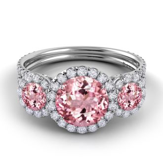 Danhov Solo Filo Pink Tourmaline Diamond Ring in 14k White Gold