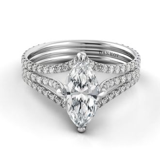 Danhov Solo Filo Triple Shank Marquise Engagement Ring in 14k White Gold