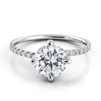 Danhov Eleganza Unique Engagement Ring in 14k White Gold