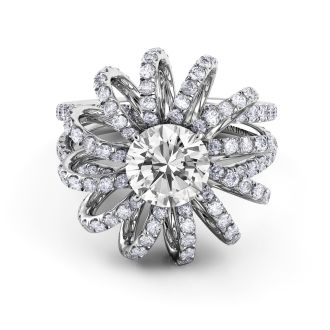 Danhov Couture Platinum Vintage Inspired Engagement Ring in 14k White Gold